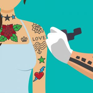 Cartoon drawing of a woman getting more tattoos on her arm