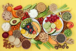 Picture of all different types of fruit and veg against a yellow background